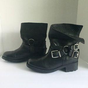 Eric Michael Shoes - ERIC MICHAEL Black Moto Slouchy Biker Buckle Boots